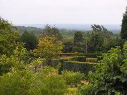 Looking across the Golden Wedding Rose Walk and Walled Garden