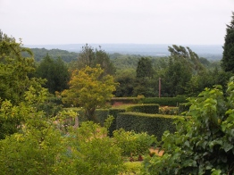 Looking across the Golden Wedding Rose Walk and Walled Garden