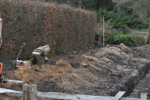 The Wistera Walk under construction, at the bottom of the double herbaceous borders